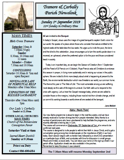 Tramore Parish  Mass Times, News & Information for the