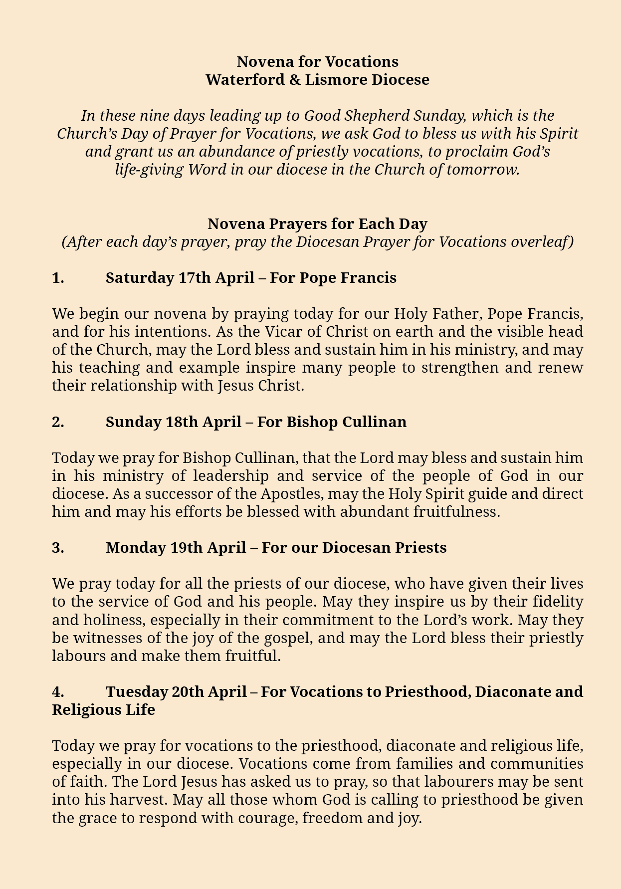 novena for vocations waterford lismore
